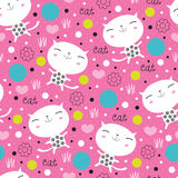 Bezszwowa śliczna kwiecista kota wzoru wektoru ilustracja Zdjęcie Stock