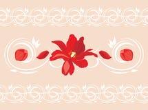 Bezszwowa ornamentacyjna granica z czerwonym kwiatem i płatkami Zdjęcie Royalty Free