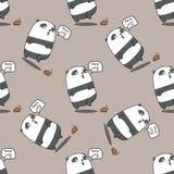 Bezszwowa panda jest szokującym wzorem ilustracja wektor