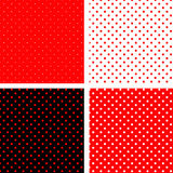 bezszwowa pois czarny deseniowa czerwień Zdjęcie Royalty Free