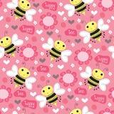 Bezszwowa pszczoła wzoru wektoru ilustracja Zdjęcia Stock