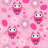 Bezszwowa różowa sowa wzoru wektoru ilustracja Obraz Royalty Free