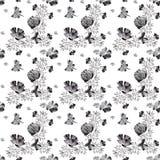 Bezszwowa ręka rysująca kwiatu wzoru zapowiedź Zdjęcia Stock