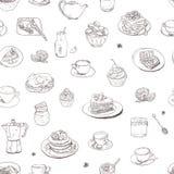 Bezszwowa ręka rysująca tło kawa, herbata, cukierki wzór Ilustracyjni wyśmienicie elementy Śniadaniowego jedzenia napojów tort Obrazy Stock