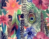 Bezszwowa ręka rysujący akwarela bezszwowy wzór z liśćmi, kwiaty, upierza Zdjęcia Stock