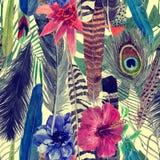 Bezszwowa ręka rysujący akwarela bezszwowy wzór z liśćmi, kwiaty, upierza Zdjęcie Stock