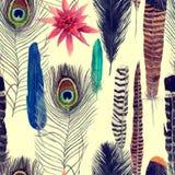 Bezszwowa ręka rysujący akwarela bezszwowy wzór z liśćmi, kwiaty, upierza Obraz Stock