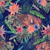 Bezszwowa ręka rysujący akwarela wzór z indyjską krową, liście, kwiaty ilustracja wektor
