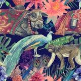 Bezszwowa ręka rysujący akwarela wzór z indyjską krową, liście, kwiaty Obrazy Royalty Free
