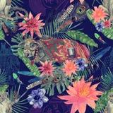 Bezszwowa ręka rysujący akwarela wzór z indyjską krową, małpa liście, kwiaty Obraz Royalty Free