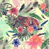 Bezszwowa ręka rysujący akwarela wzór z indyjską krową, małpa liście, kwiaty royalty ilustracja