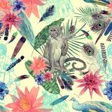 Bezszwowa ręka rysujący akwarela wzór z monlkey, pawi liście, kwiaty Zdjęcia Stock