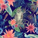 Bezszwowa ręka rysujący akwarela wzór z monlkey, pawi liście, kwiaty ilustracji