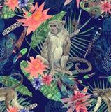 Bezszwowa ręka rysujący akwarela wzór z monlkeys, liście, kwiaty ilustracja wektor