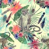 Bezszwowa ręka rysujący akwarela wzór z monlkeys, liście, kwiaty Obraz Stock