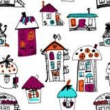 Bezszwowa ręka rysujący budynki w rocznika stylu Obraz Royalty Free