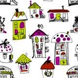 Bezszwowa ręka rysujący budynki w rocznika stylu Zdjęcie Royalty Free