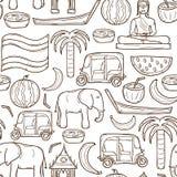 Bezszwowa ręka rysujący kreskówki Tajlandia tło Fotografia Royalty Free