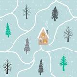 Bezszwowa ręka rysujący zima wzór z śniegiem, choinki, domy Krajobrazowy ornamentacyjny tło dla tapety, deseniowe pełnie ilustracja wektor