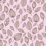 Bezszwowa stylizowana ręka rysujący liścia wzór z royalty ilustracja
