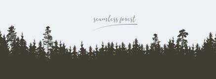 Bezszwowa, szeroka zielona sylwetka drzewo, i lasowi szczyty, isolat ilustracja wektor