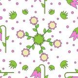 Bezszwowa tafluje tekstura z kolorowymi kwiatami, gras i kropkami, Fotografia Royalty Free