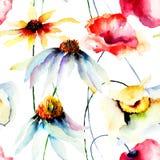 Bezszwowa tapeta z dzikimi kwiatami Zdjęcie Royalty Free
