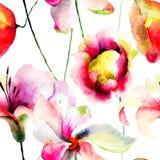 Bezszwowa tapeta z stylizowanym kwiatem Zdjęcia Royalty Free
