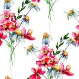 Bezszwowa tapeta z Stylizowanymi dzikimi kwiatami royalty ilustracja