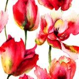 Bezszwowa tapeta z tulipanów kwiatami royalty ilustracja