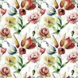 Bezszwowa tapeta z wiosna kwiatami royalty ilustracja