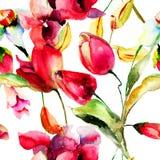 Bezszwowa tapeta z wiosna kwiatami Zdjęcia Stock