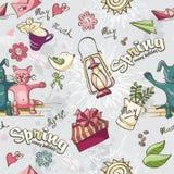 Bezszwowa tekstura barwiona wiosna doodles na szarym tle Obraz Stock