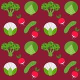 Bezszwowa tekstura brokułów ogórka rzodkiew Obraz Royalty Free