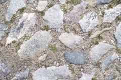 Bezszwowa tekstura brukowego kamienia ślad na zielonej trawie Zdjęcie Stock