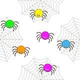 Bezszwowa tekstura kreskówka pająki ilustracja wektor