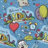 Bezszwowa tekstura z błękitnymi tła i szkoły doodles Obraz Royalty Free
