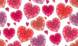 Bezszwowa tekstura z doodle boho serce dekorującymi wzorami ilustracja wektor