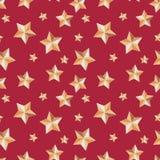 Bezszwowa tekstura z gwiazdami świątecznymi na czerwonym tle ilustracja wektor