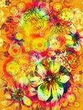 Bezszwowa tekstura z kolorem kwitnie na żółtym tle Fotografia Royalty Free