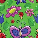 Bezszwowa tekstura z kwiatami i insektami Zdjęcia Royalty Free
