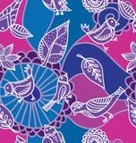 Bezszwowa tekstura z kwiatami i ptakami. Zdjęcia Stock