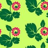 Bezszwowa tekstura z kwiatami i zielonym płatkiem Zdjęcia Stock