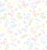 Bezszwowa tekstura z kwiatami, piórkami i ptakami, ilustracji