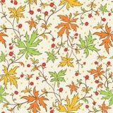 Bezszwowa tekstura z liśćmi i jagodami Fotografia Royalty Free