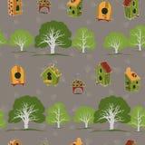 Bezszwowa tekstura z ogródem i birdhouses Zdjęcie Royalty Free