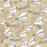 Bezszwowa tekstura z papierowymi samolotami Obrazy Stock