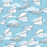 Bezszwowa tekstura z papierowymi samolotami Obraz Stock