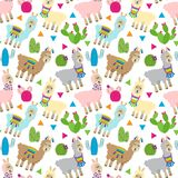 Bezszwowa, Tileable lama, i kaktusa wzór ilustracji