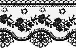 Bezszwowa wektorowa czerni koronka Zdjęcia Royalty Free